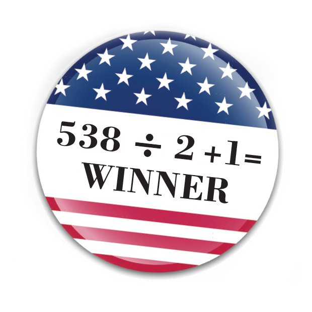 Voting button with 538 / 2 + 1 = Winner