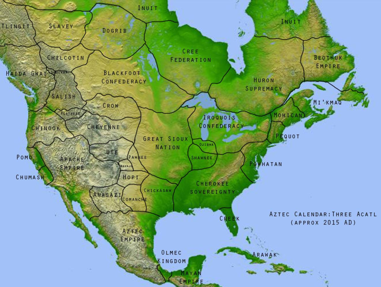 Imaginary map of Alternate History Non-Columbian North America