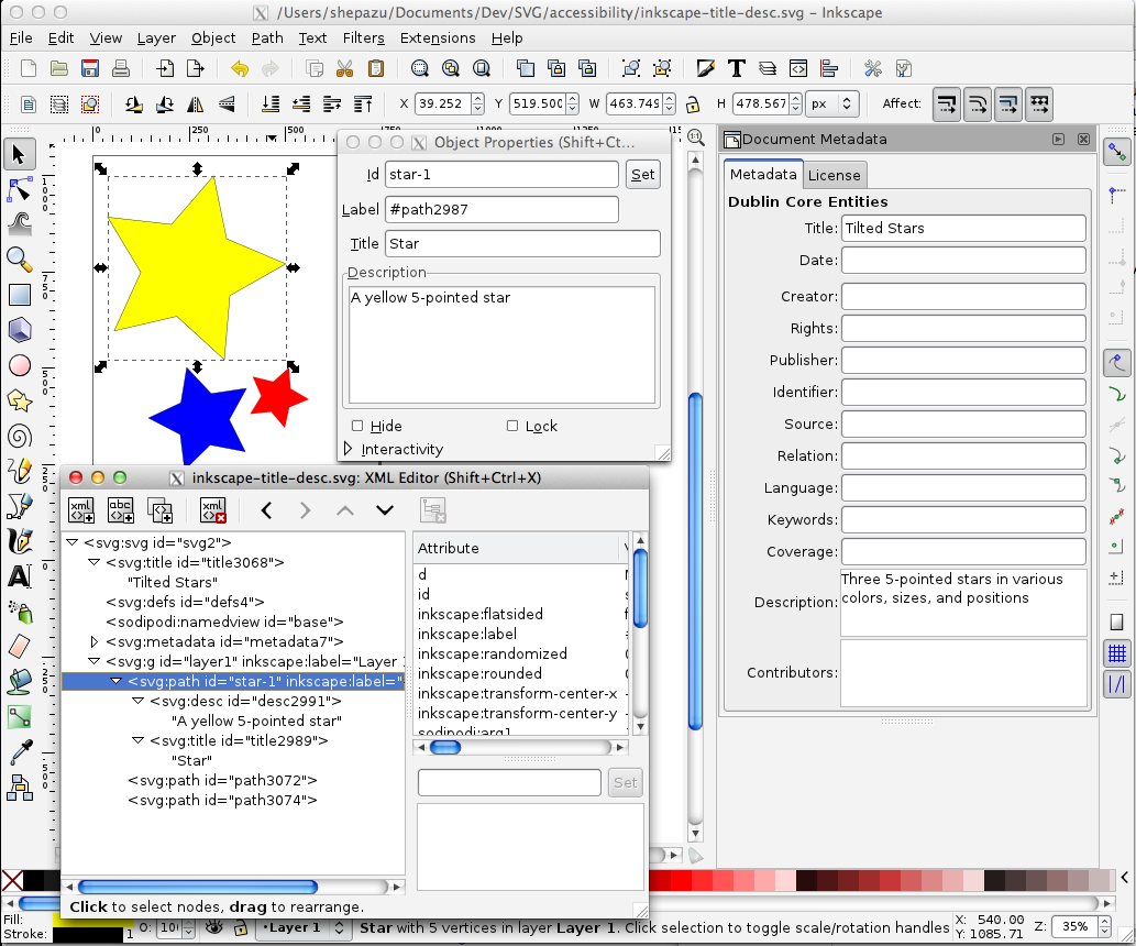 Inkscape's metadata editing dialogs, with 3 dialog boxes